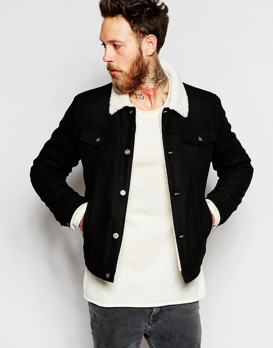 Asos Wool Bomber Jacket With Faux Shearling Collar in Black for ...
