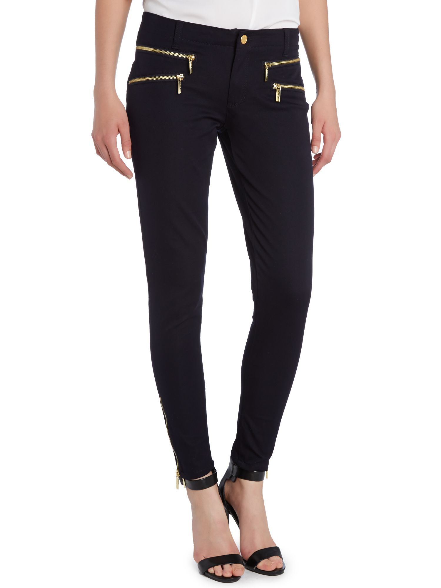 Michael kors Rocker Zip Skinny Jean in Blue | Lyst