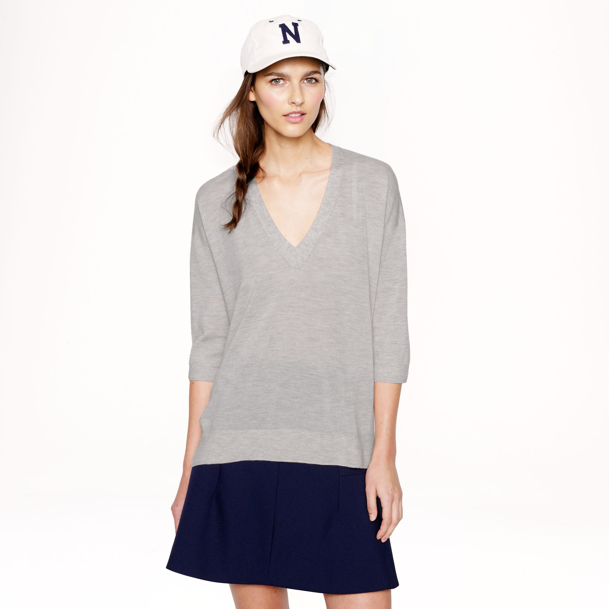 J.crew Collection Featherweight Cashmere Drapesleeve Vneck Sweater ...