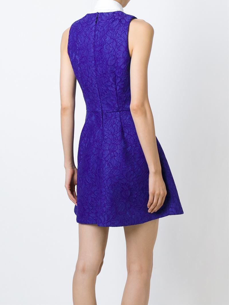 Lyst msgm floral embroidery mesh dress in blue