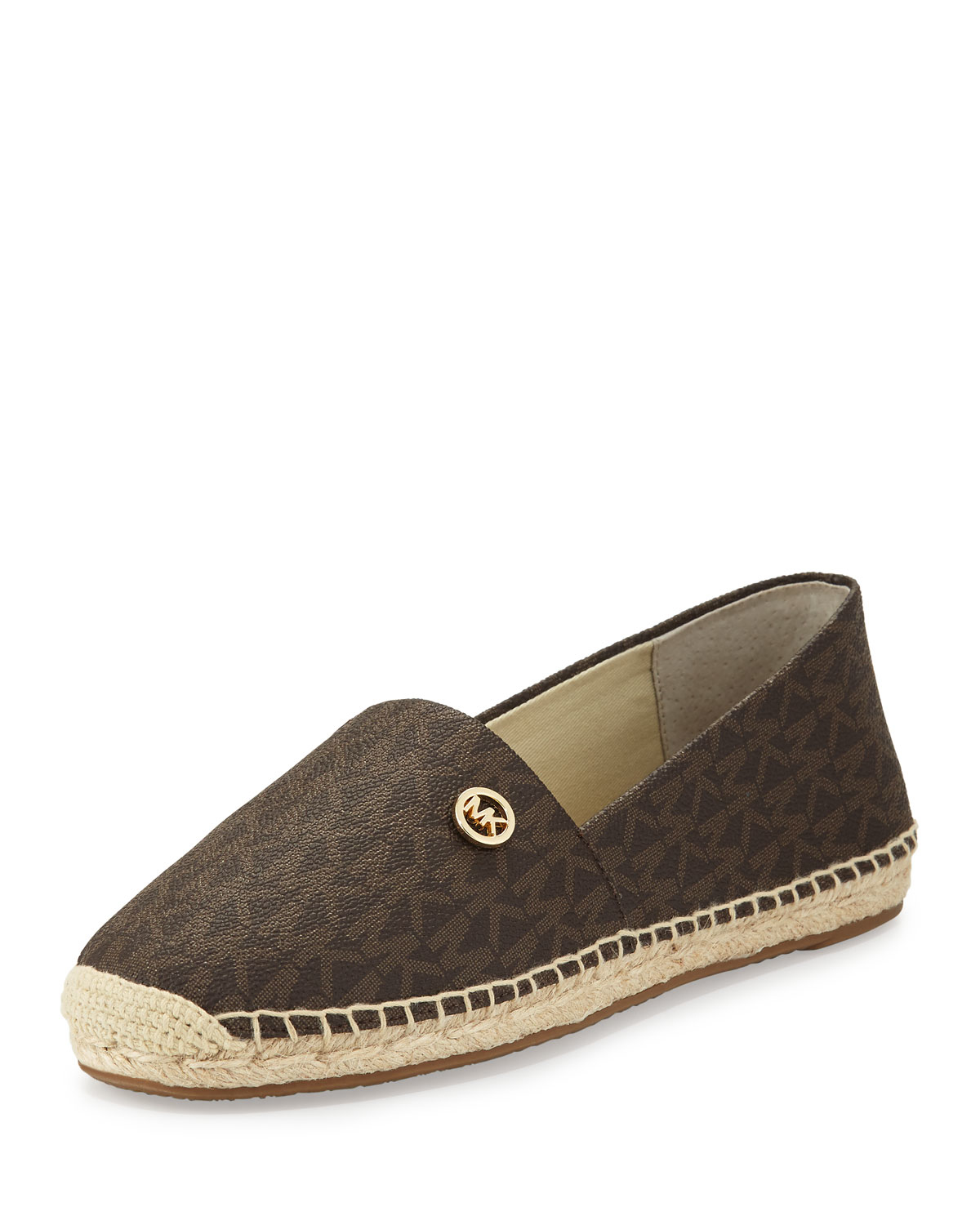 michael michael kors kendrick logo print espadrille flat in brown lyst. Black Bedroom Furniture Sets. Home Design Ideas