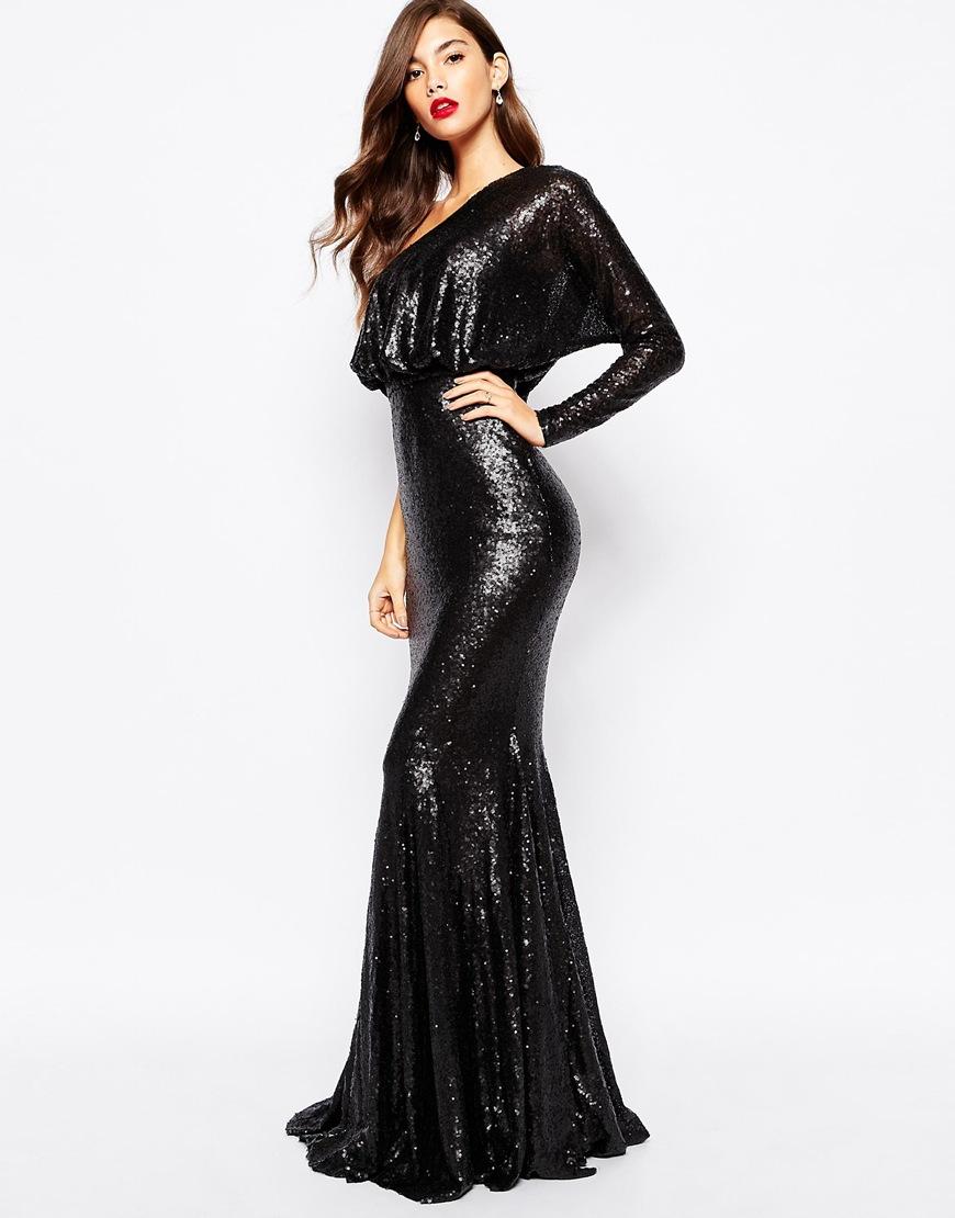 a41bddb45d Lyst - Forever Unique Tempest Sequin Maxi Dress in Black