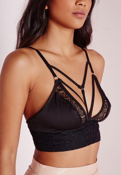 2ee3385b8f9b4 Lyst - Missguided Harness Detail Lace Bralette Black in Black