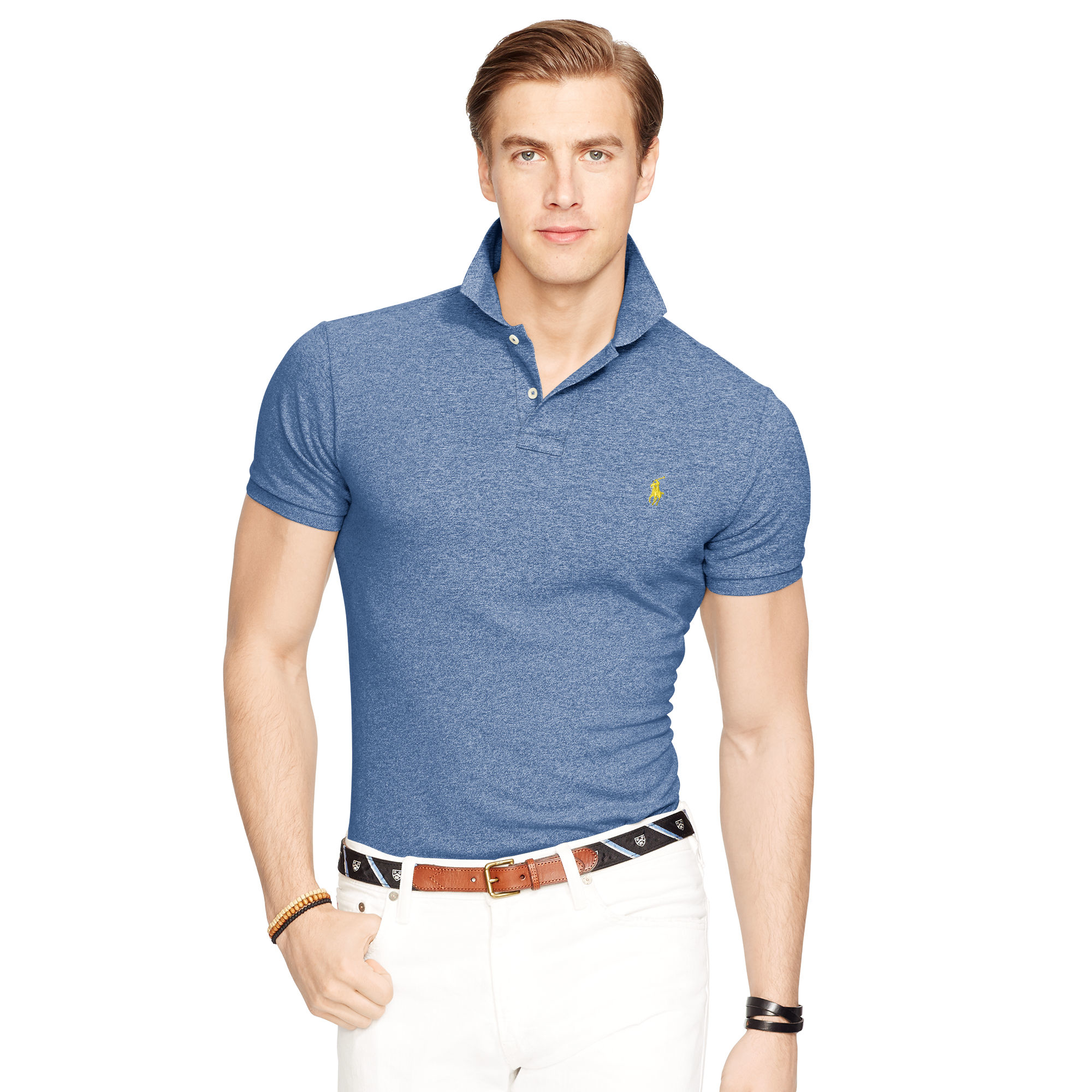 polo ralph lauren slim fit mesh polo shirt in blue for men. Black Bedroom Furniture Sets. Home Design Ideas