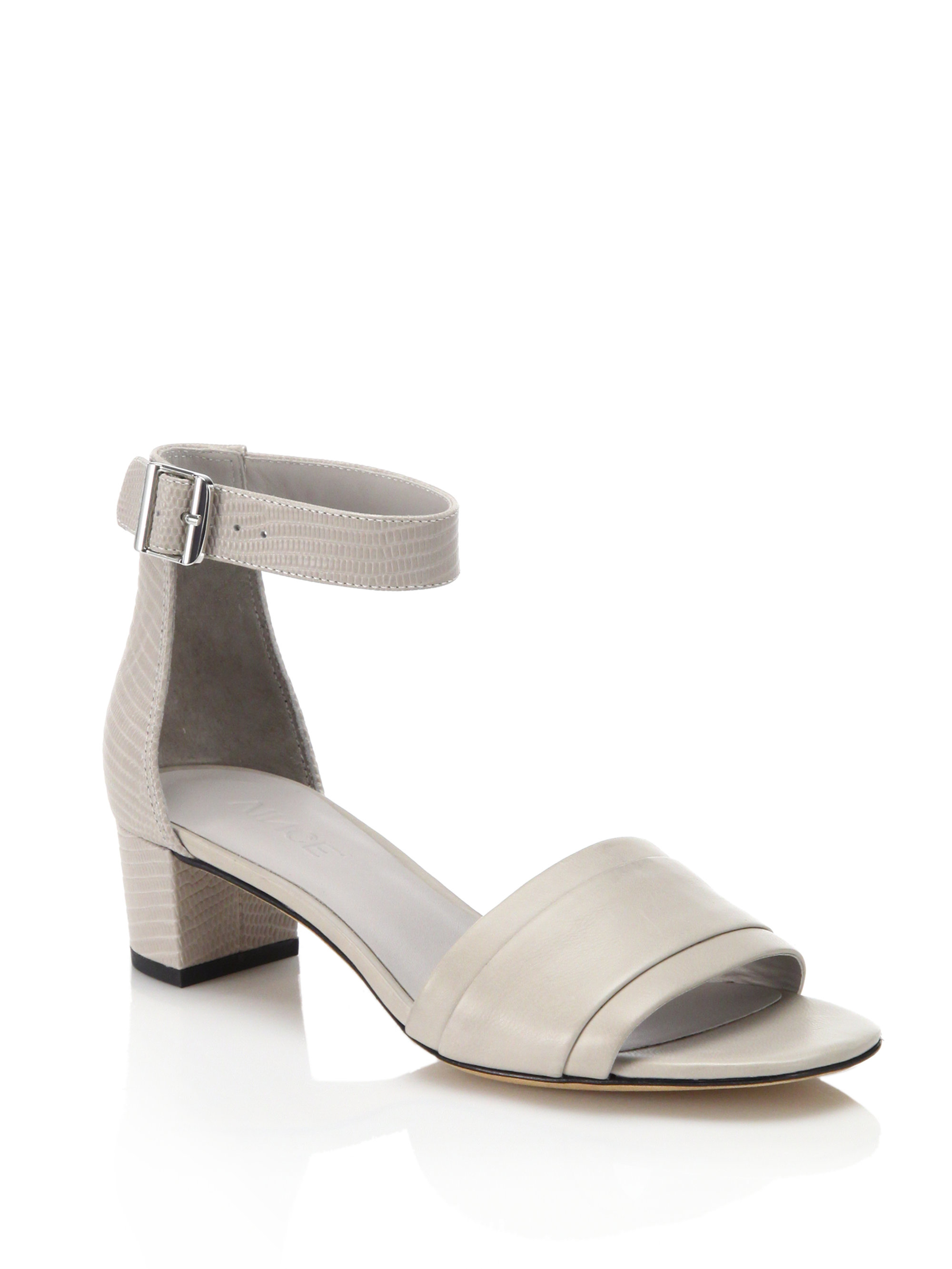 Vince Raine Leather Mid Heel Sandals In Gray Lyst