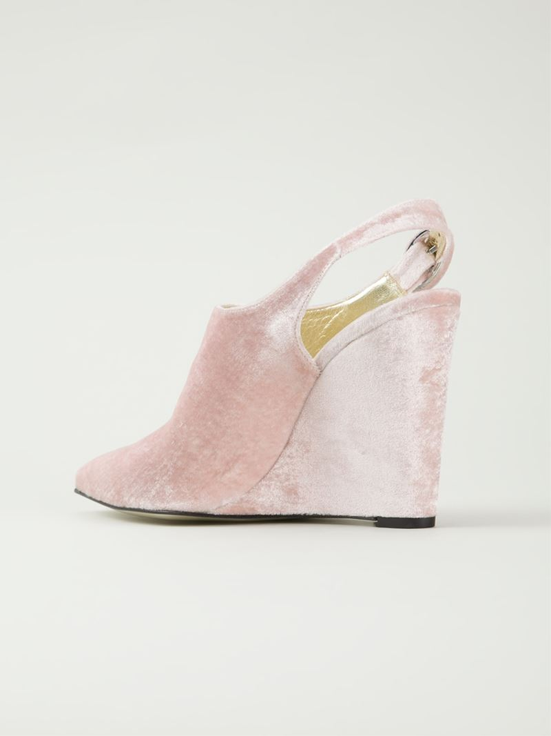 Amelie Pichard Pointed Toe Wedge Mules In Pink Lyst