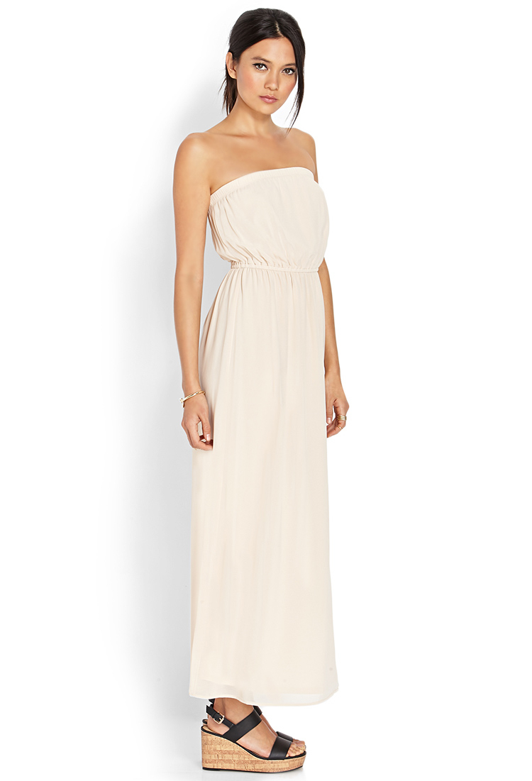 Forever 21 Maxi Chiffon Tube Dress in Natural | Lyst