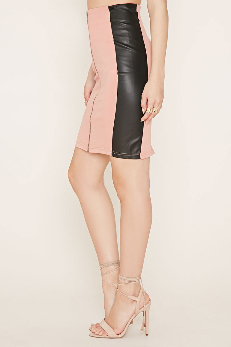 forever 21 faux leather paneled skirt in pink lyst