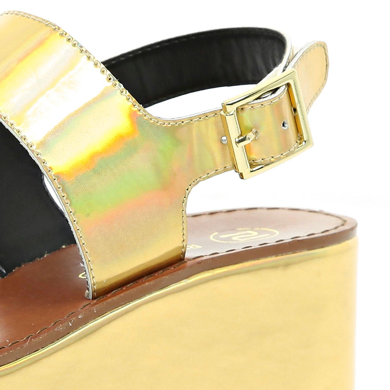 Lyst River Island Gold Holographic Flatform Sandals In