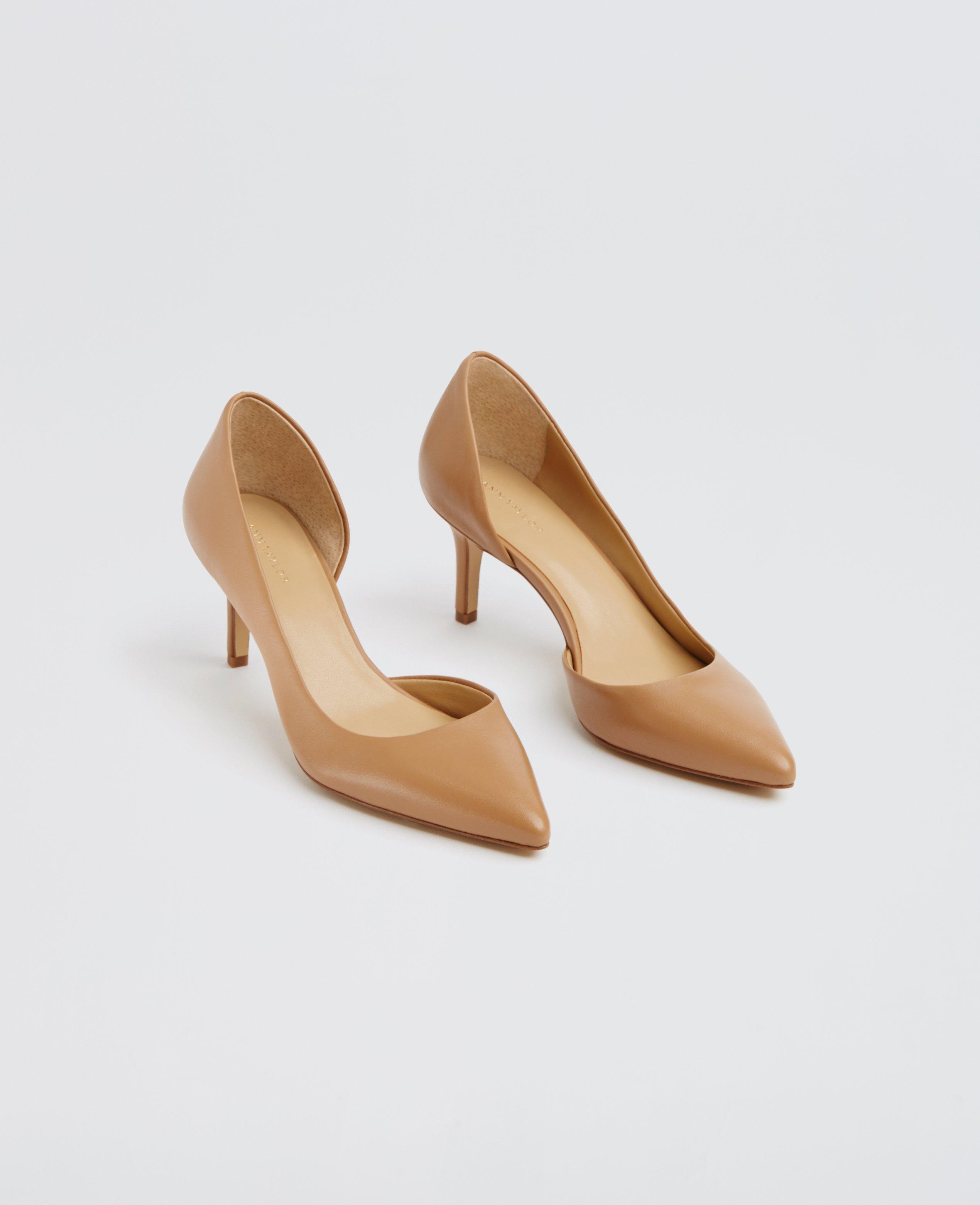 Ann taylor Mari D'orsay Leather Kitten Heels in Natural | Lyst