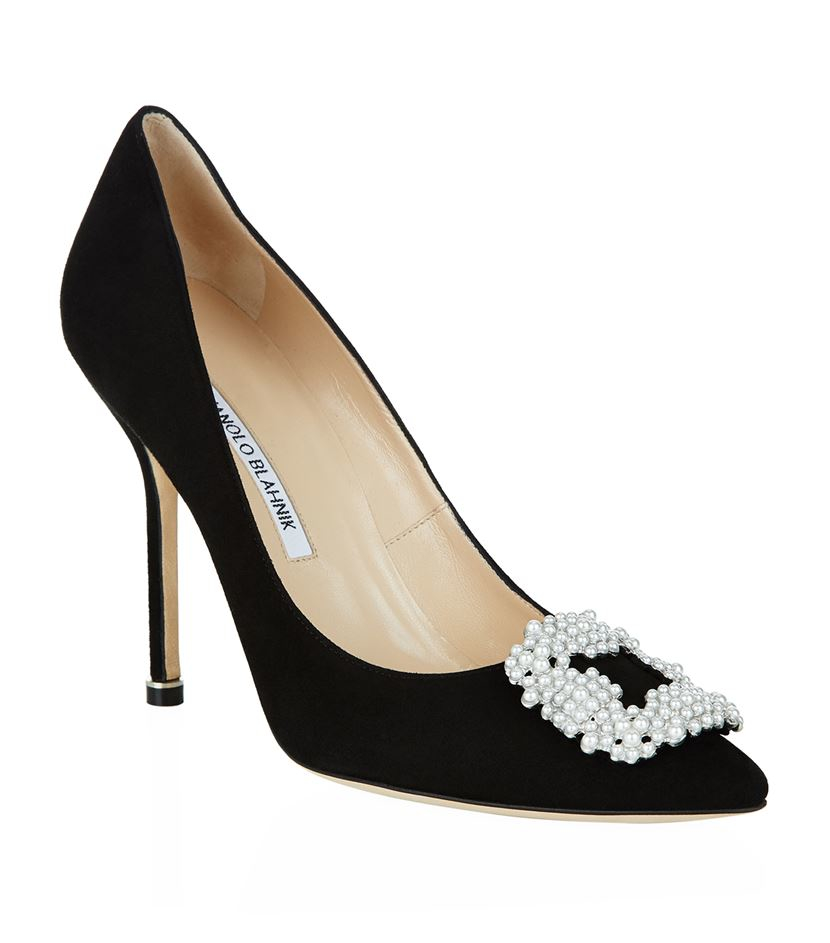 Manolo blahnik hangisi 105 pearl suede pump in black lyst for Who is manolo blahnik