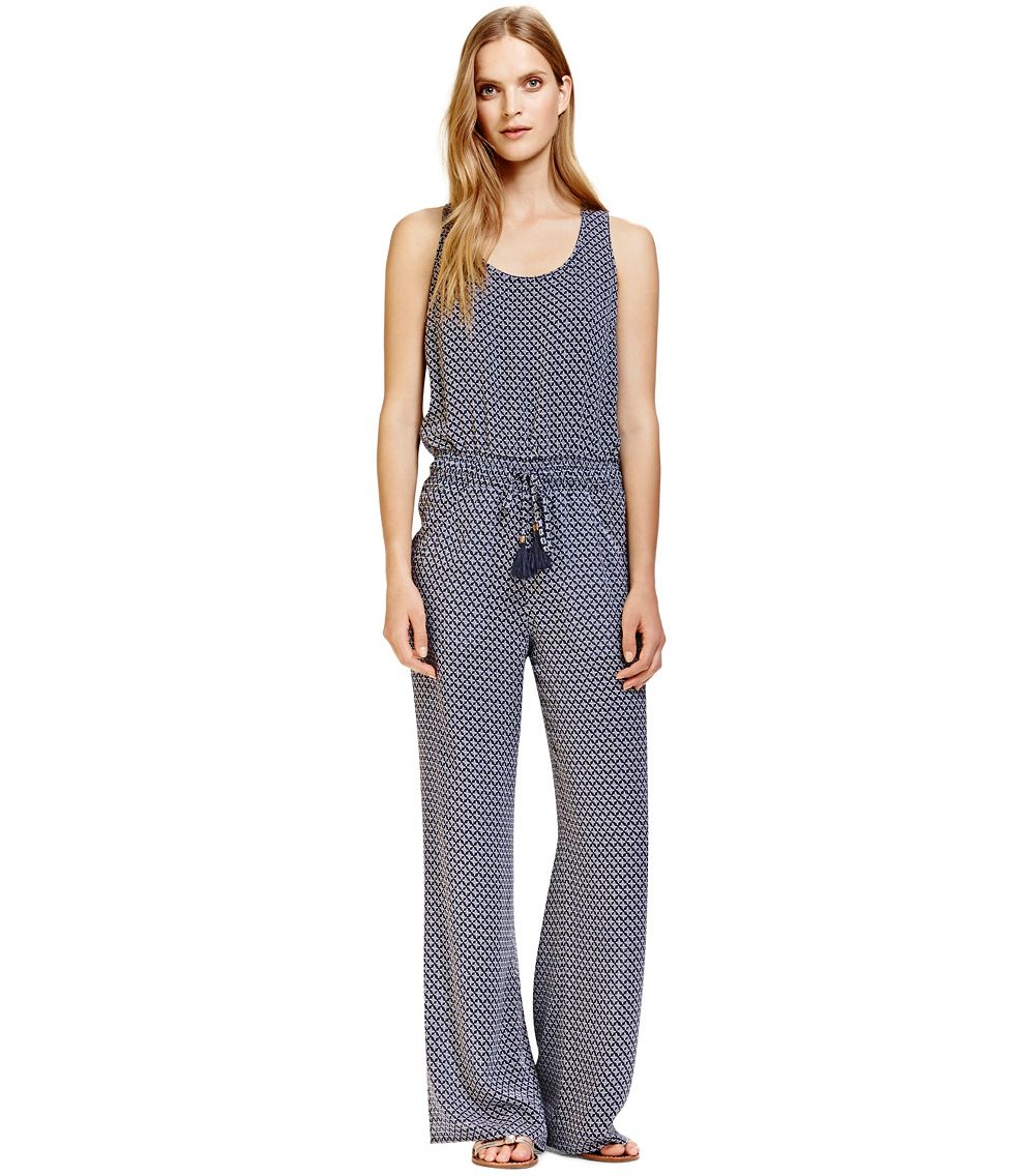 Tory burch portofino jumpsuit in blue azaleh b revised for Tory burch fashion island