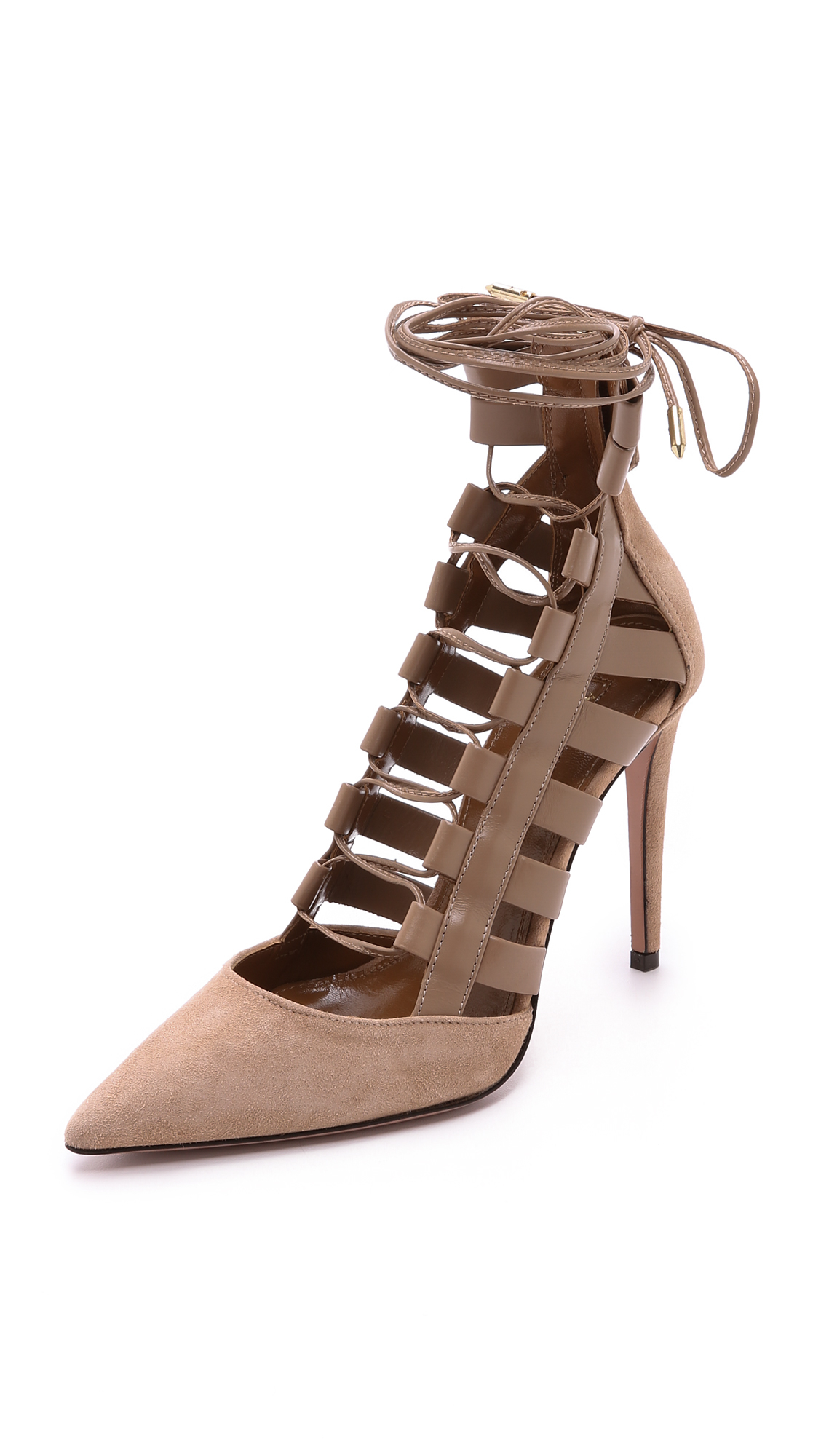 68e9025f023 Aquazzura Amazon Suede and Leather Lace-Up Pumps in Natural - Lyst
