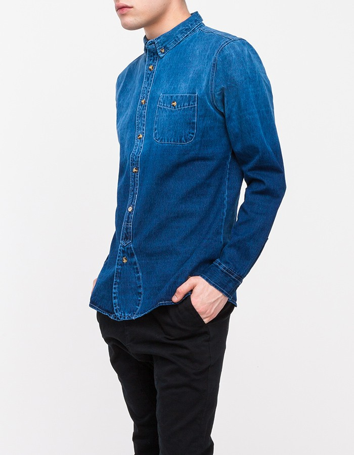 Native youth dip dye denim shirt in blue for men lyst for Mens dip dye shirt