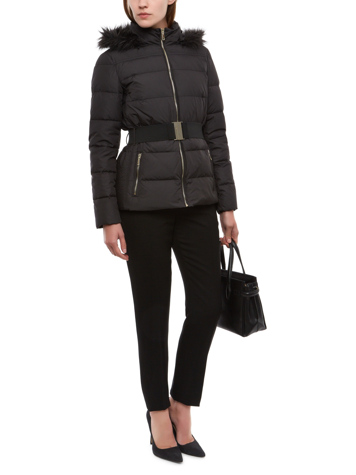Jaeger Belted Short Quilted Jacket in Black | Lyst