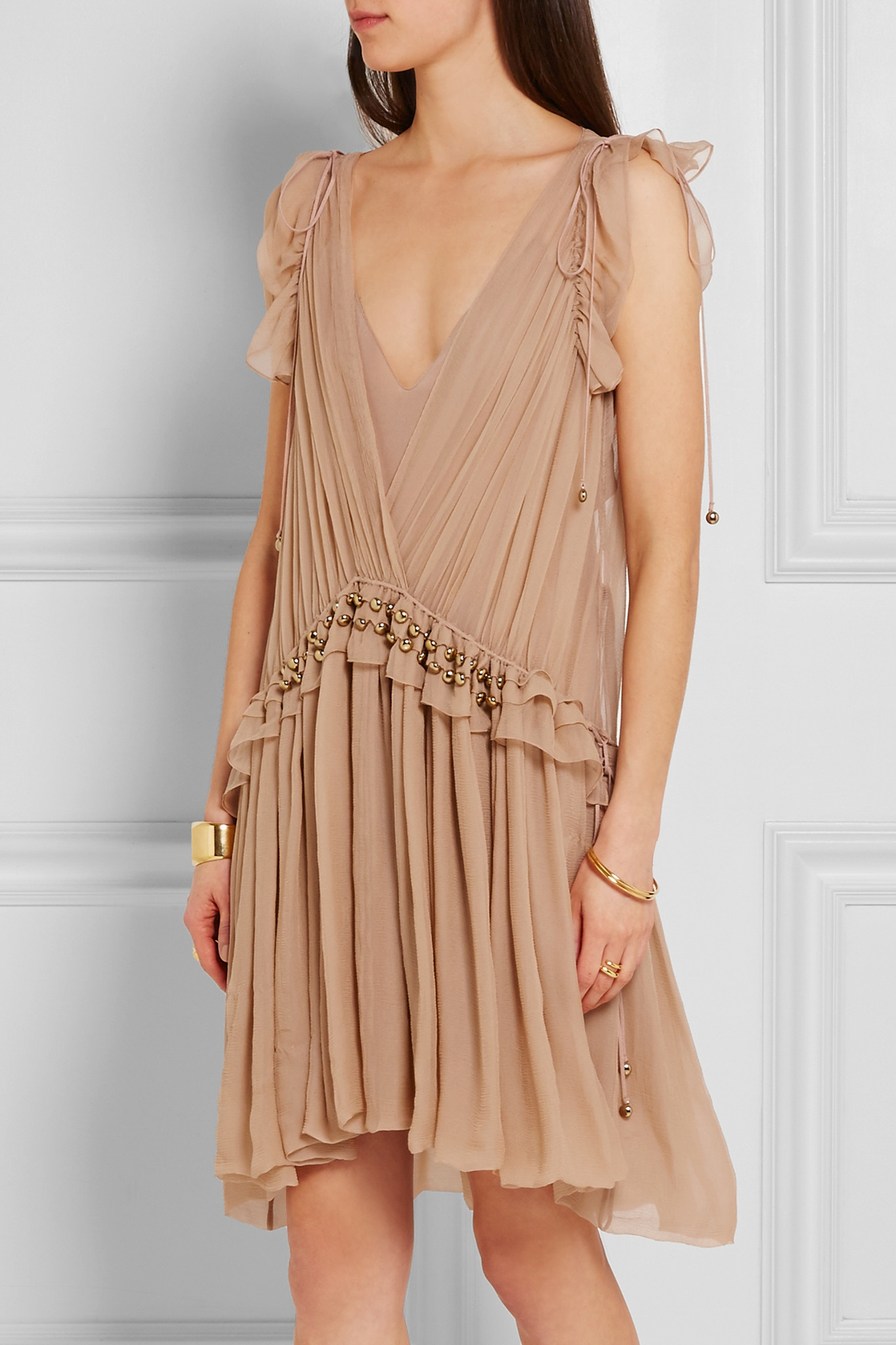 312262619c Lyst - Chloé Chloé - Ruffled Silk-chiffon Mini Dress - Blush in Blue