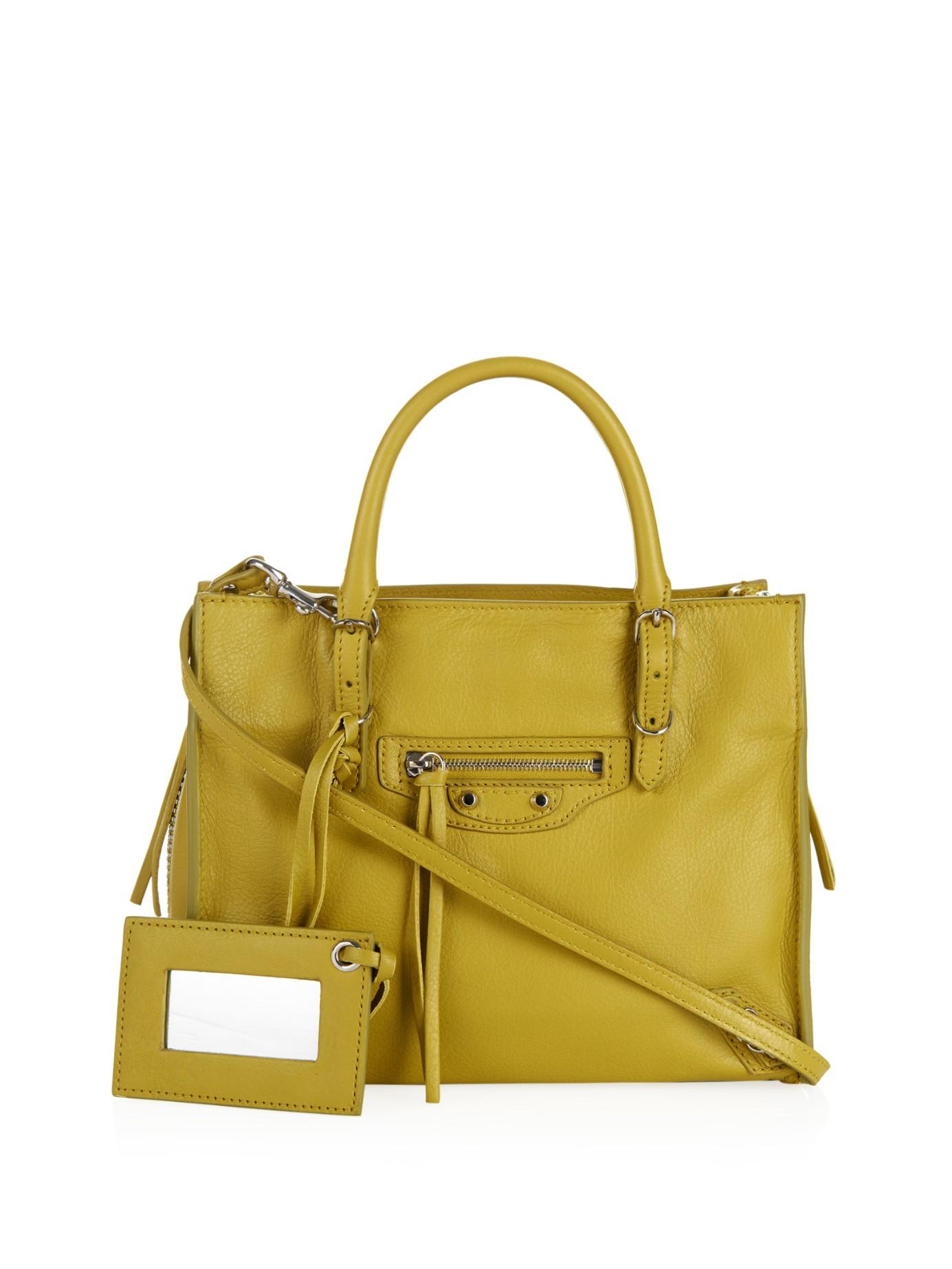 0fb1a8d5d5d Balenciaga Mini Papier A4 Leather Cross-body Bag in Yellow - Lyst