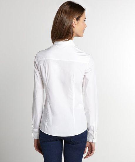 Miu miu white button up cotton shirt in white lyst for Cotton button up shirt