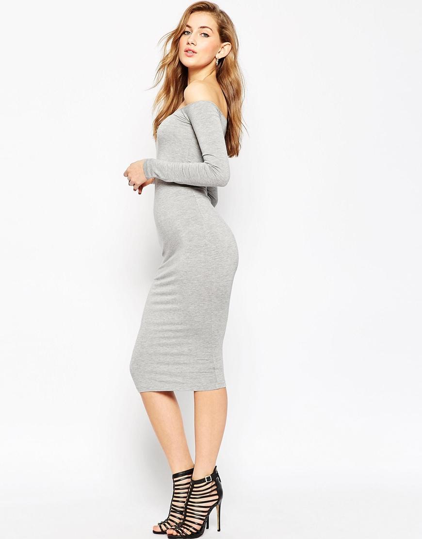 fc3b0e310831 ASOS Long Sleeve Midi Off The Shoulder Bardot Bodycon Dress in Gray ...
