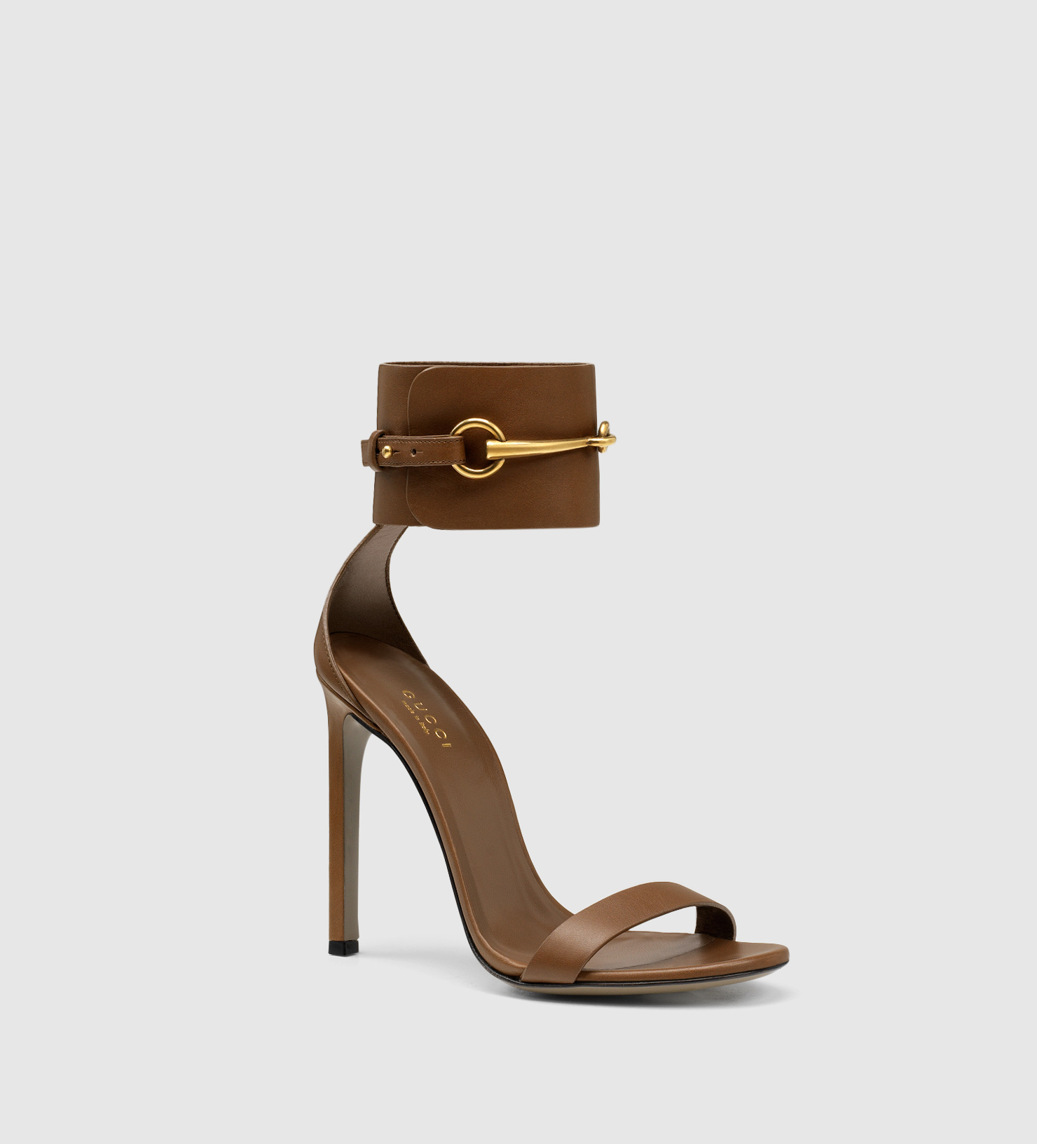 d4f6d4d2540b Lyst - Gucci Ankle-strap Leather Sandal in Brown
