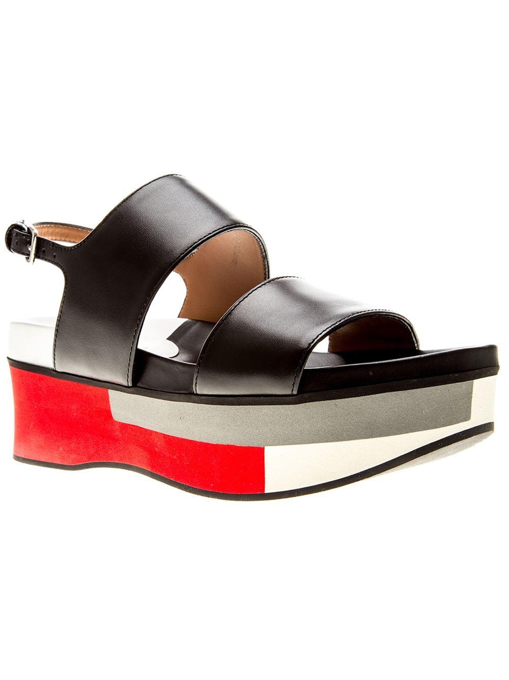fc1ec690f3c Lyst - Marni Colour Block Platform Sandals in Black