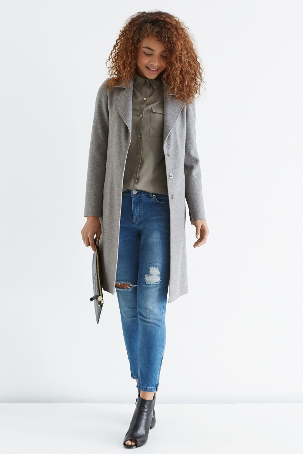 Oasis Bonded Car Coat in Gray | Lyst