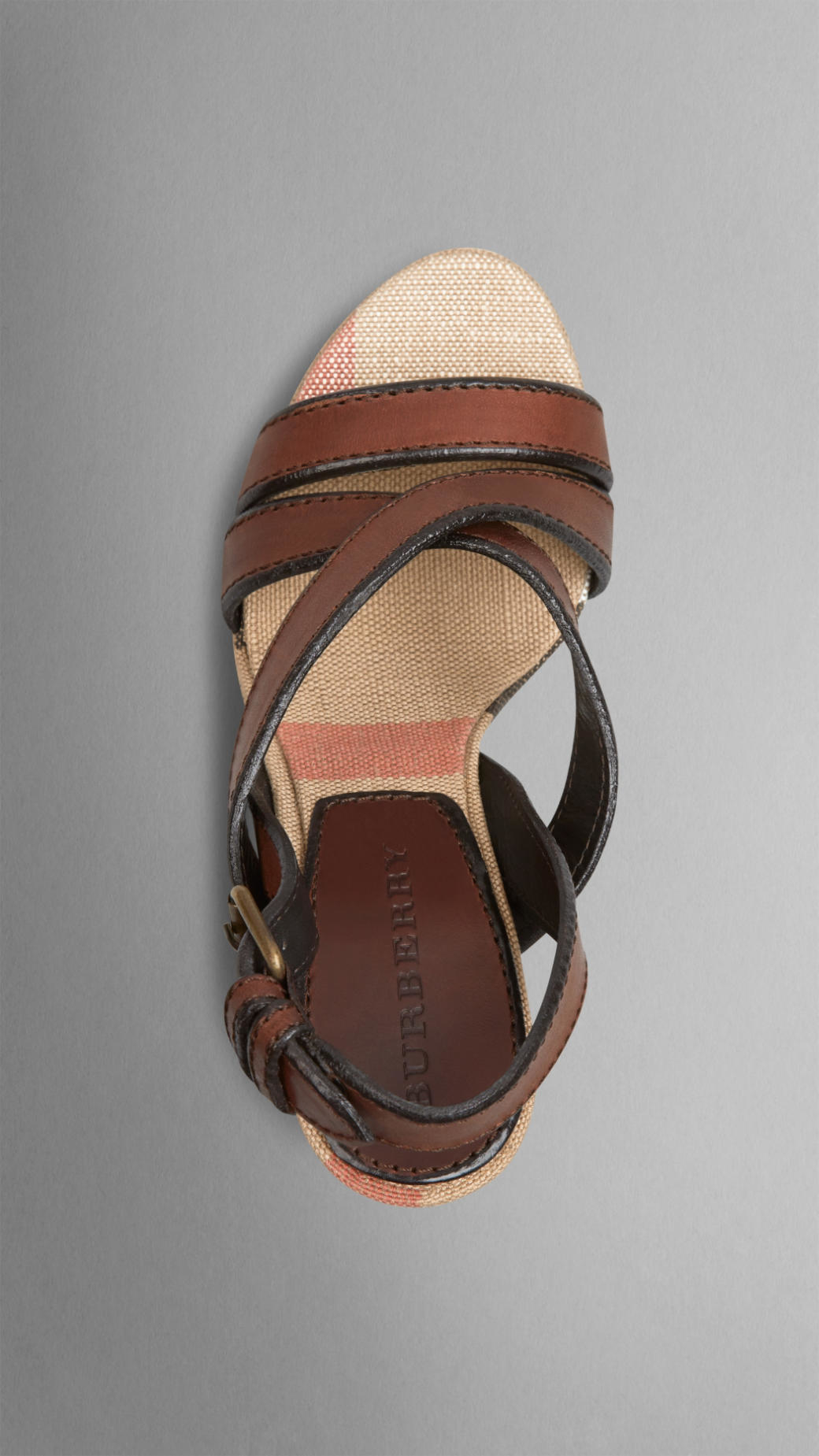 e8dd3dd35c61 Lyst - Burberry Canvas Check Leather Platform Wedges in Brown