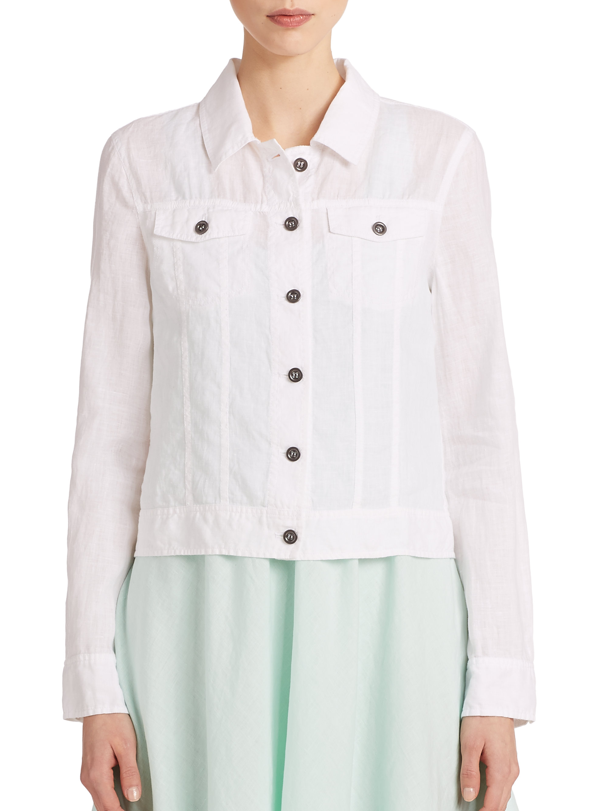 Lyst Eileen Fisher Linen Cropped Jacket In White