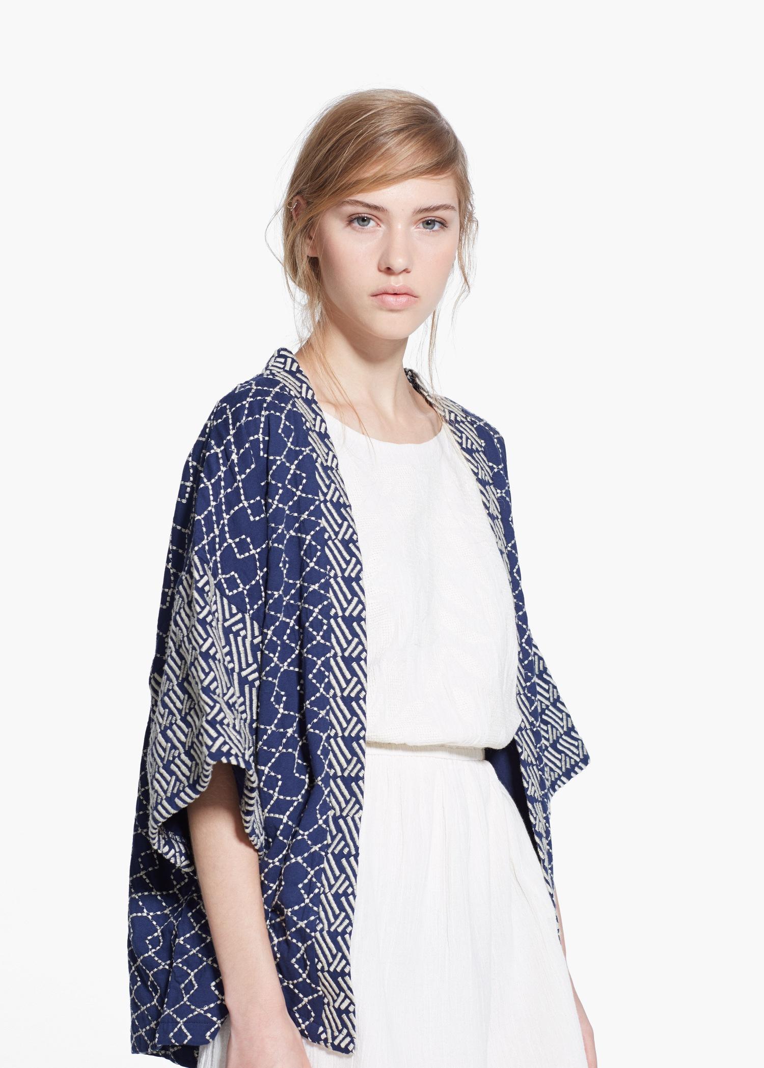 calidad autentica 2020 Mitad de precio Mango Embroidered Kimono in Navy (Blue) - Lyst