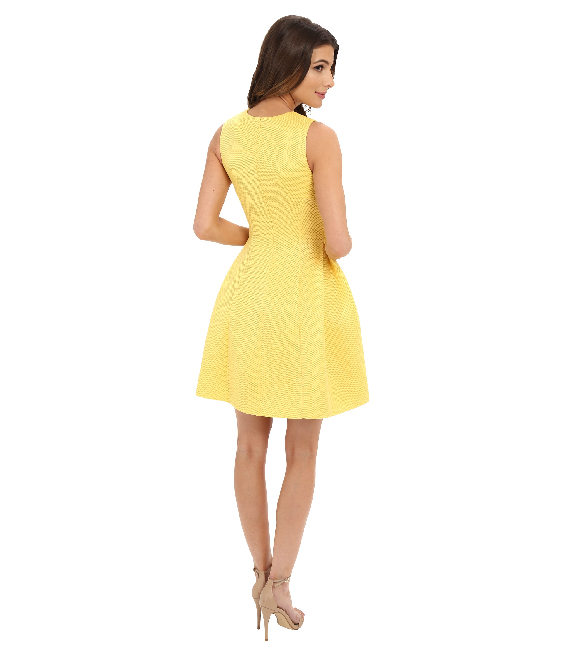Lyst Calvin Klein Fit And Flair Dress Cd6m3110 In Yellow