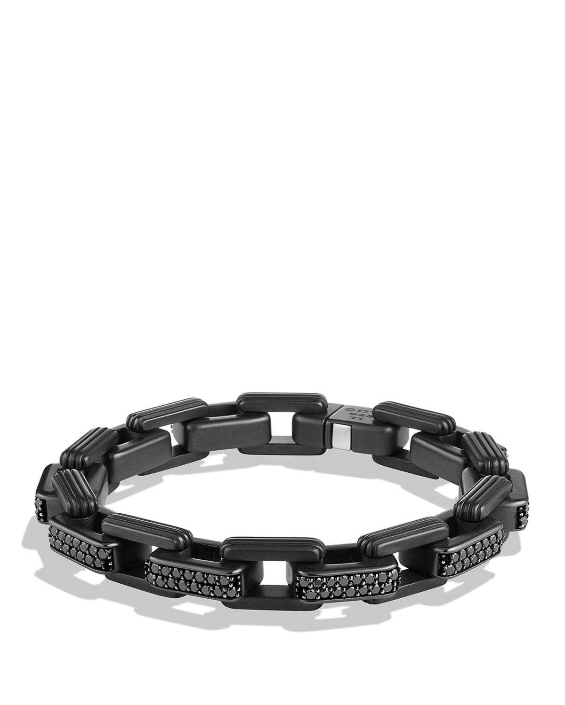 David yurman Royal Cord Link Bracelet With Black Diamonds in Black for Men | Lyst