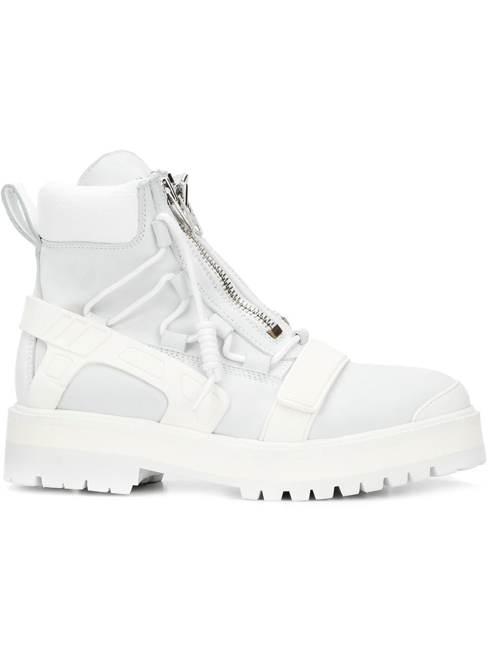 by air zipped combat boots in white for lyst