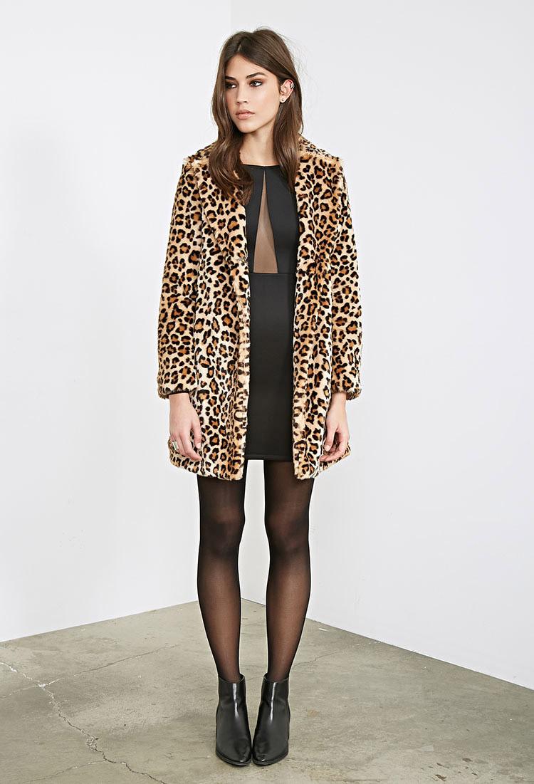 Forever 21 Leopard Print Faux Fur Coat | Lyst