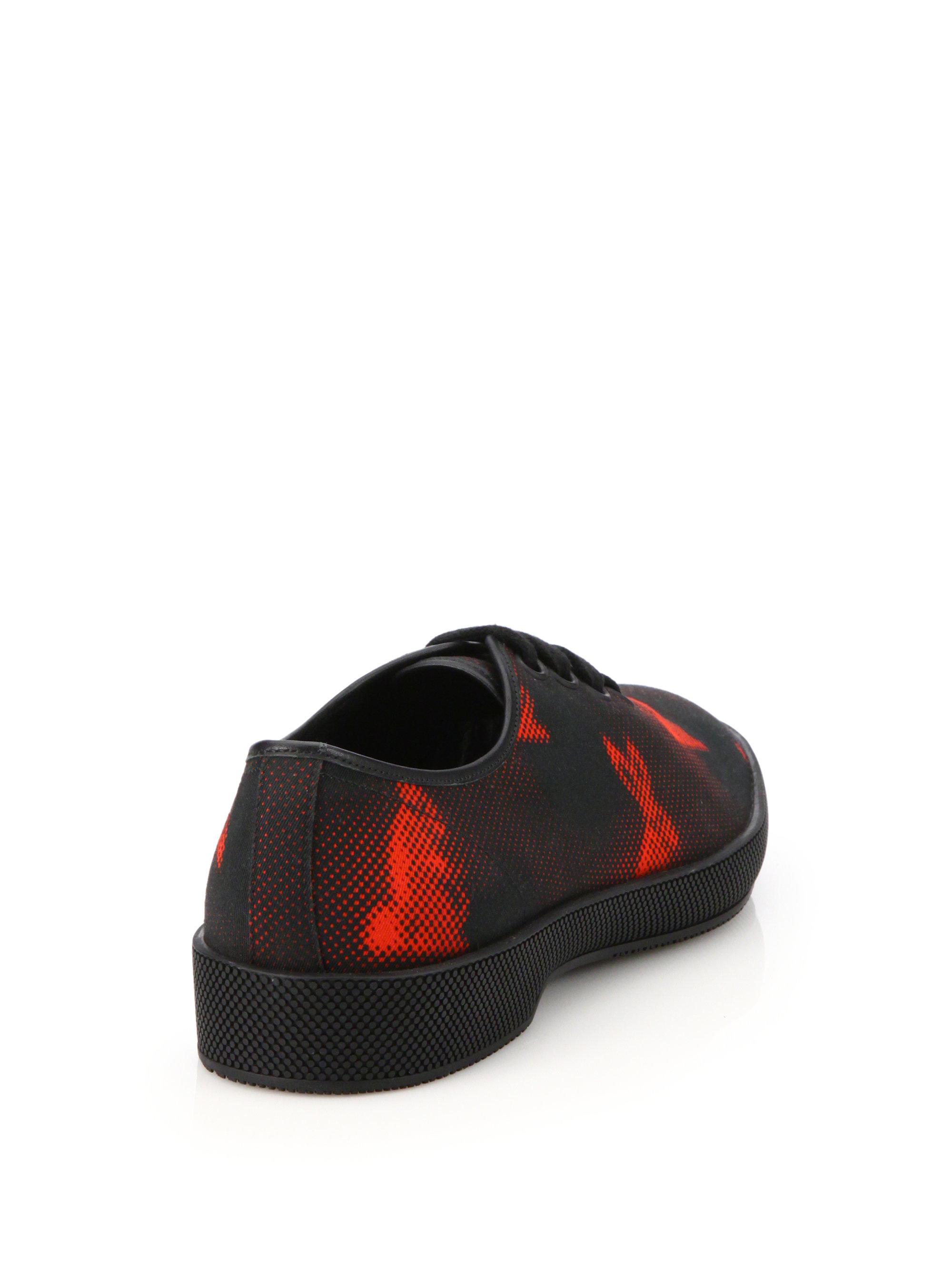 prada fake or real - Prada Rabbit-print Canvas Sneakers in Black for Men (black-red)   Lyst