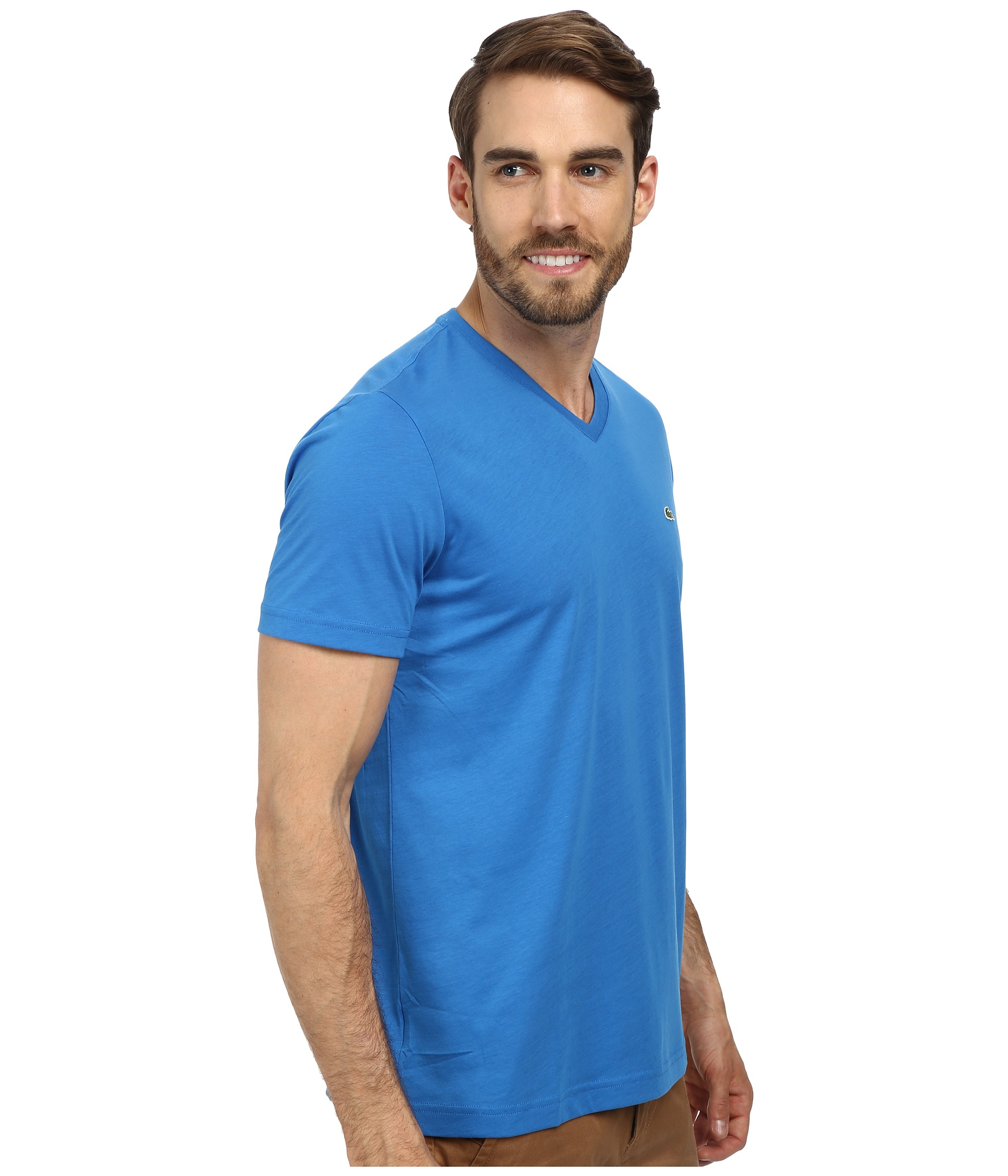 lyst lacoste ss pima jersey vneck tshirt in blue for men
