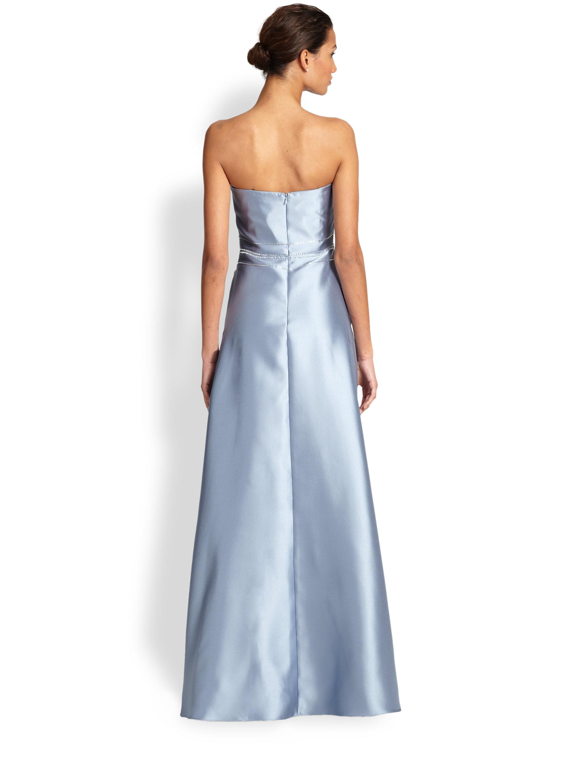 Lyst Badgley Mischka Strapless Beaded Gown In Blue