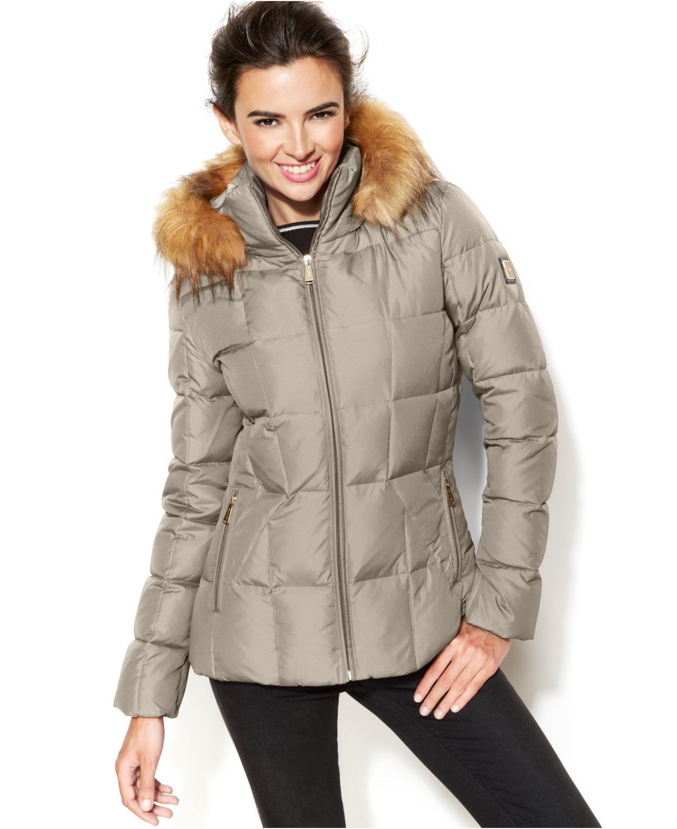 Calvin klein Faux-Fur-Trim Hooded Puffer Down Coat in Natural | Lyst