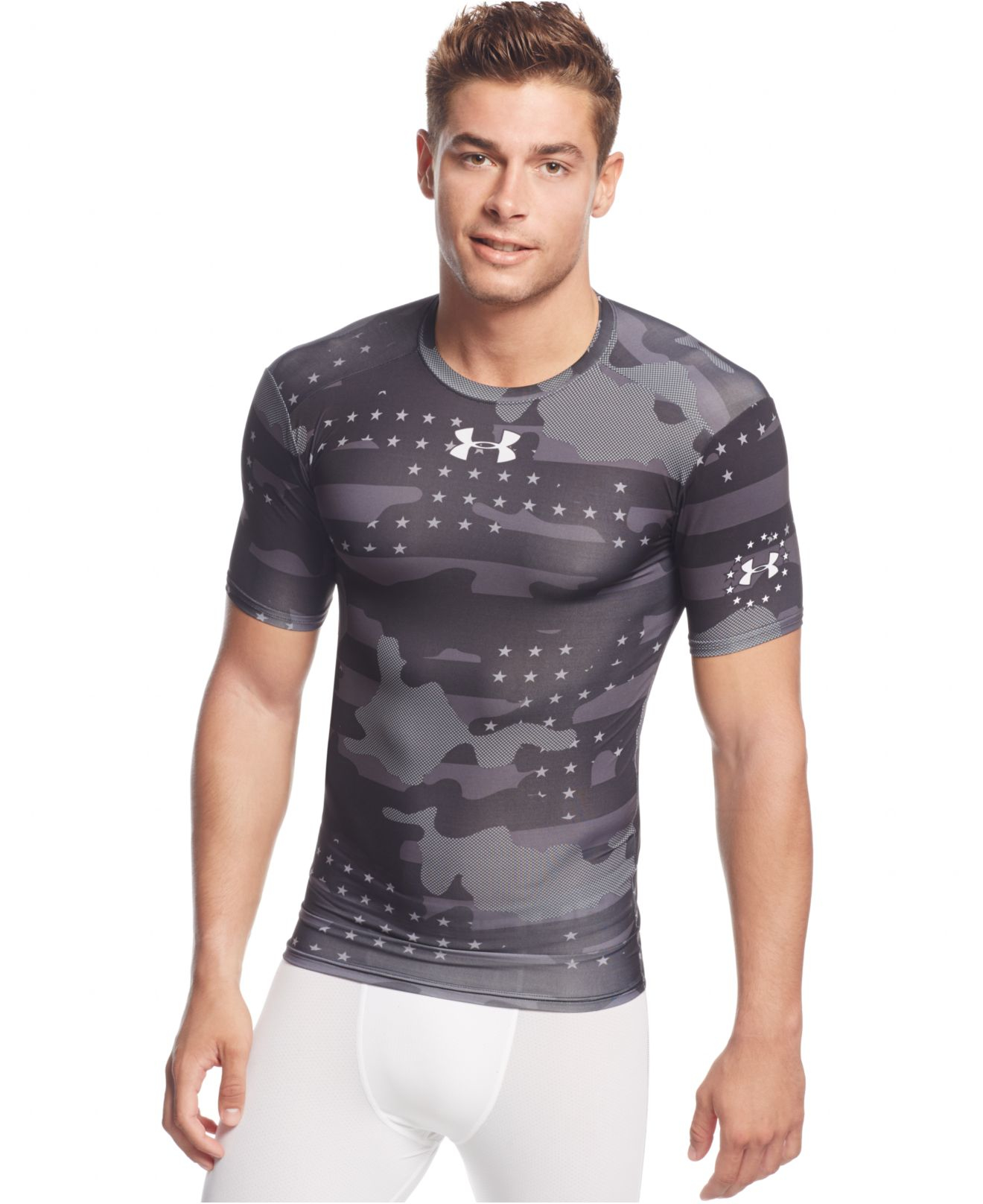 Under armour camo 2 0 heatgear compression t shirt in for Under armour heatgear white shirt