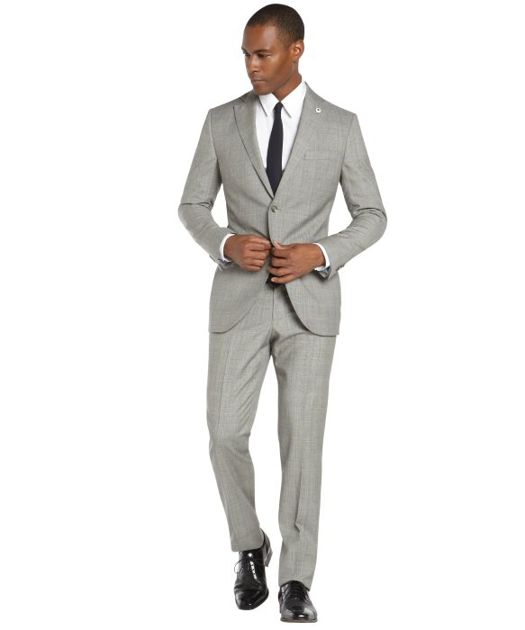 Lubiam Light Grey Houndstooth 2-Button Wool Suit With Flat Front