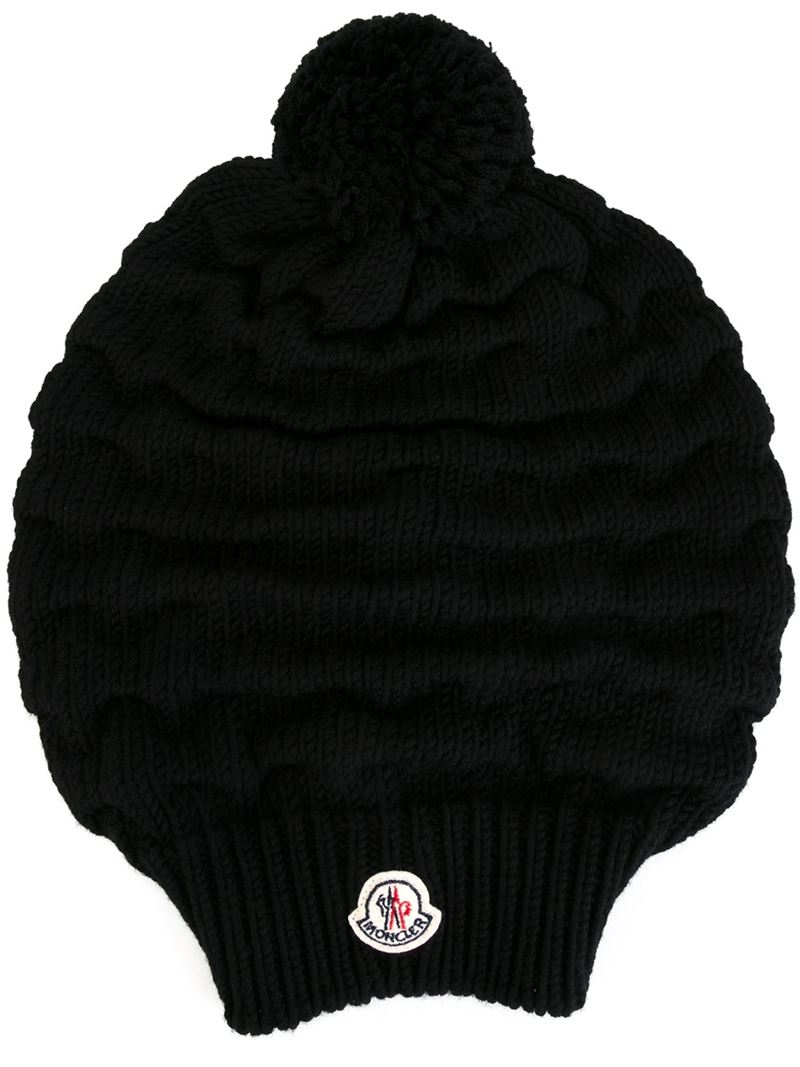 5ea28865678 Lyst - Moncler Bobble Top Beanie in Black