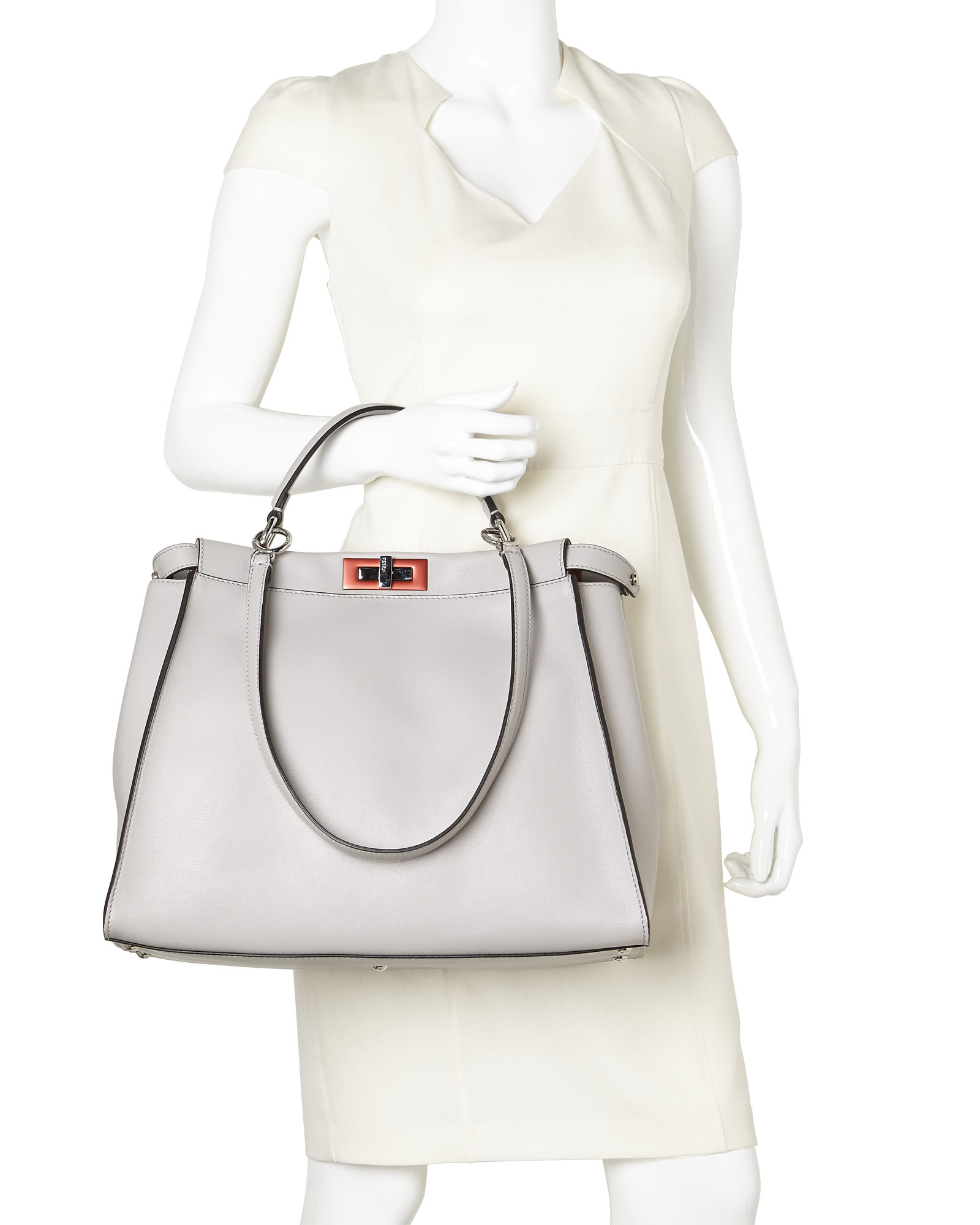 1e3743f51225 Lyst - Fendi Grey Large Peekaboo Tote in Gray