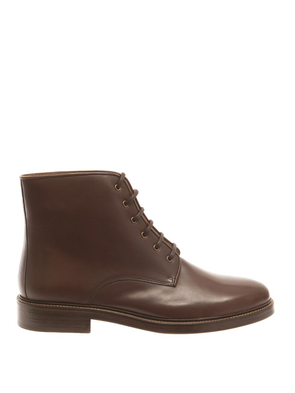 A.p.c. Leather Lace-Up Ankle Boots in Brown for Men | Lyst