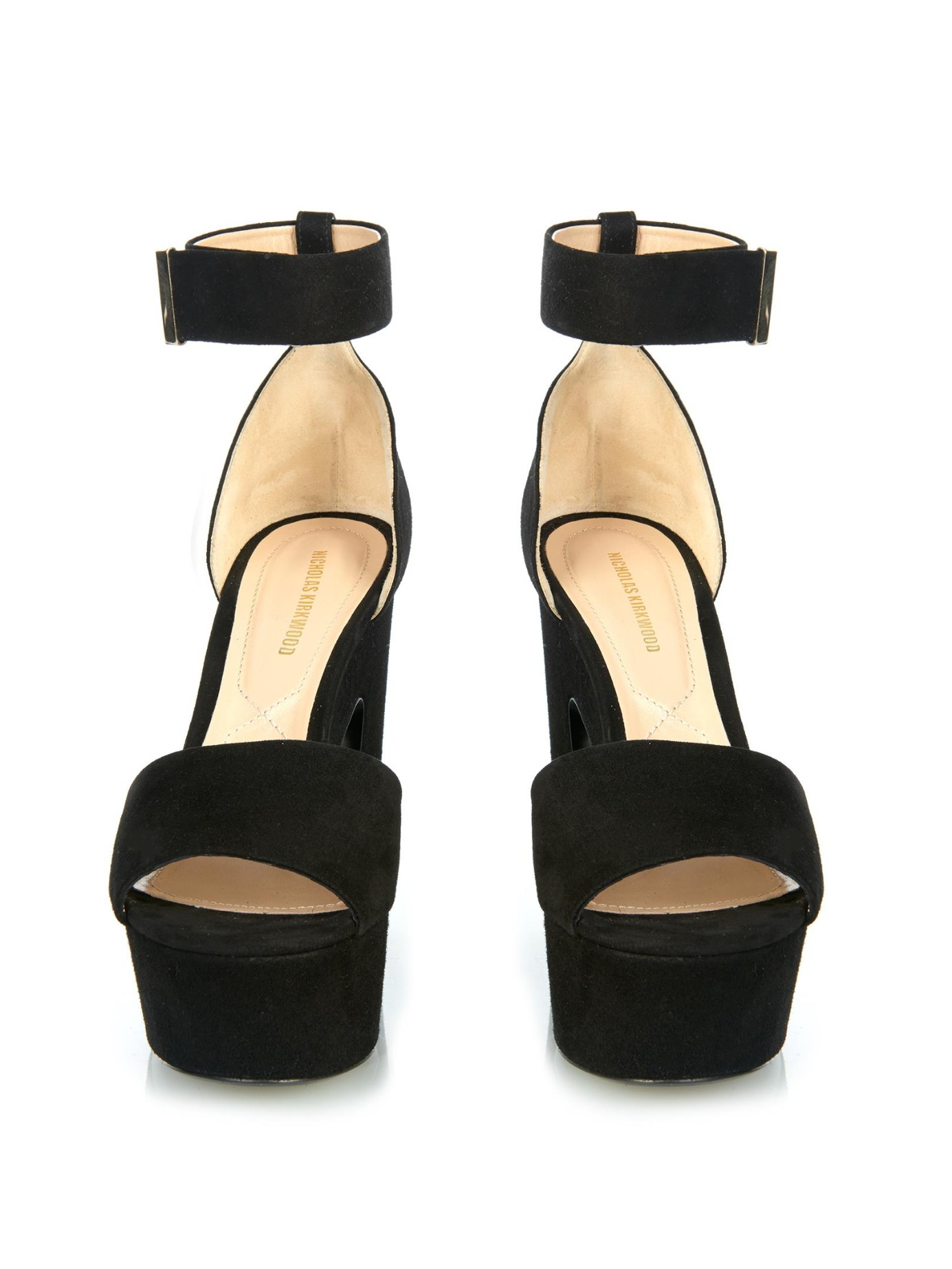 ea467e479ce Lyst - Nicholas Kirkwood Pearl-Embellished Block-Heeled Sandals in Black