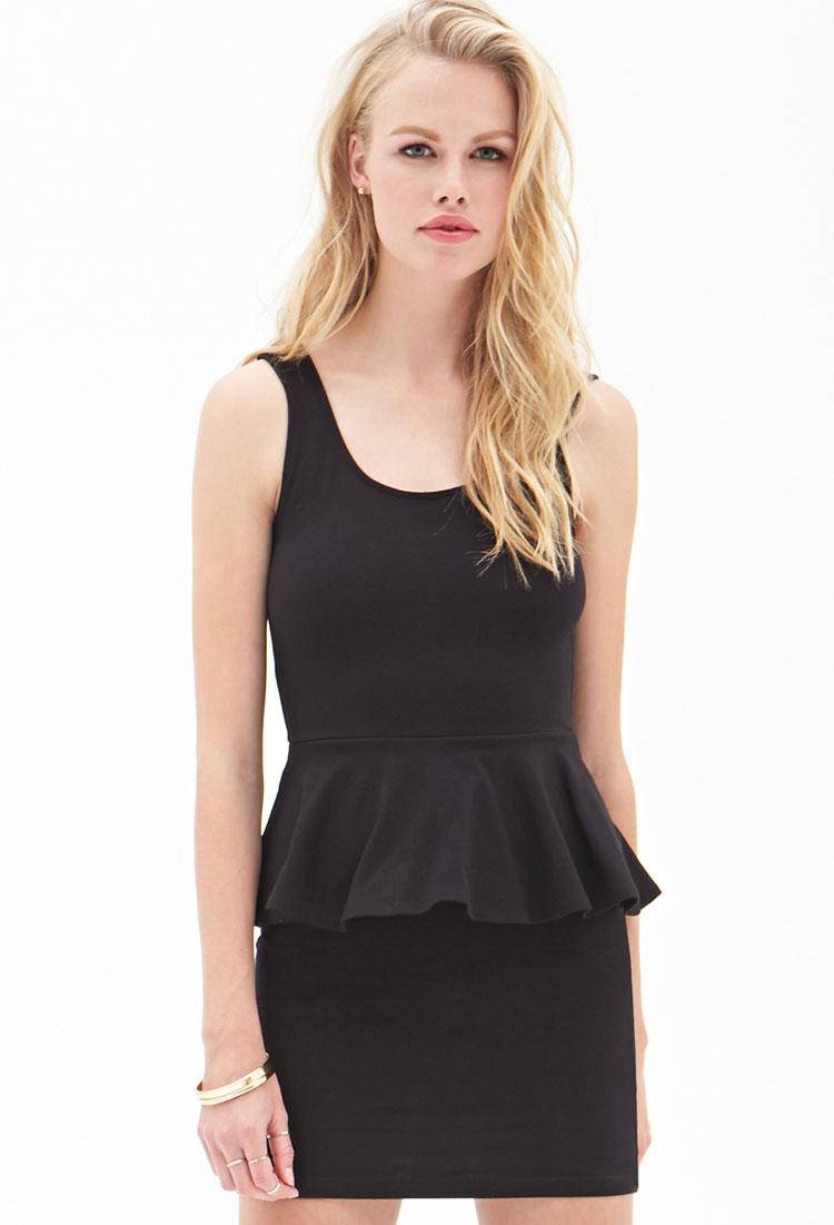 Forever 21 Classic Peplum Dress in Black   Lyst - photo #24