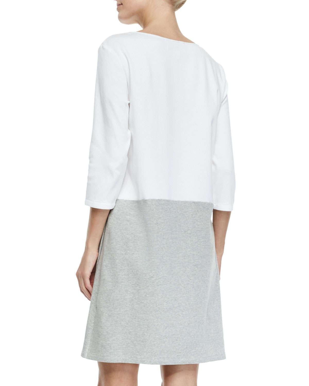 Joan Vass 3/4-sleeve Colorblock Dress In Gray