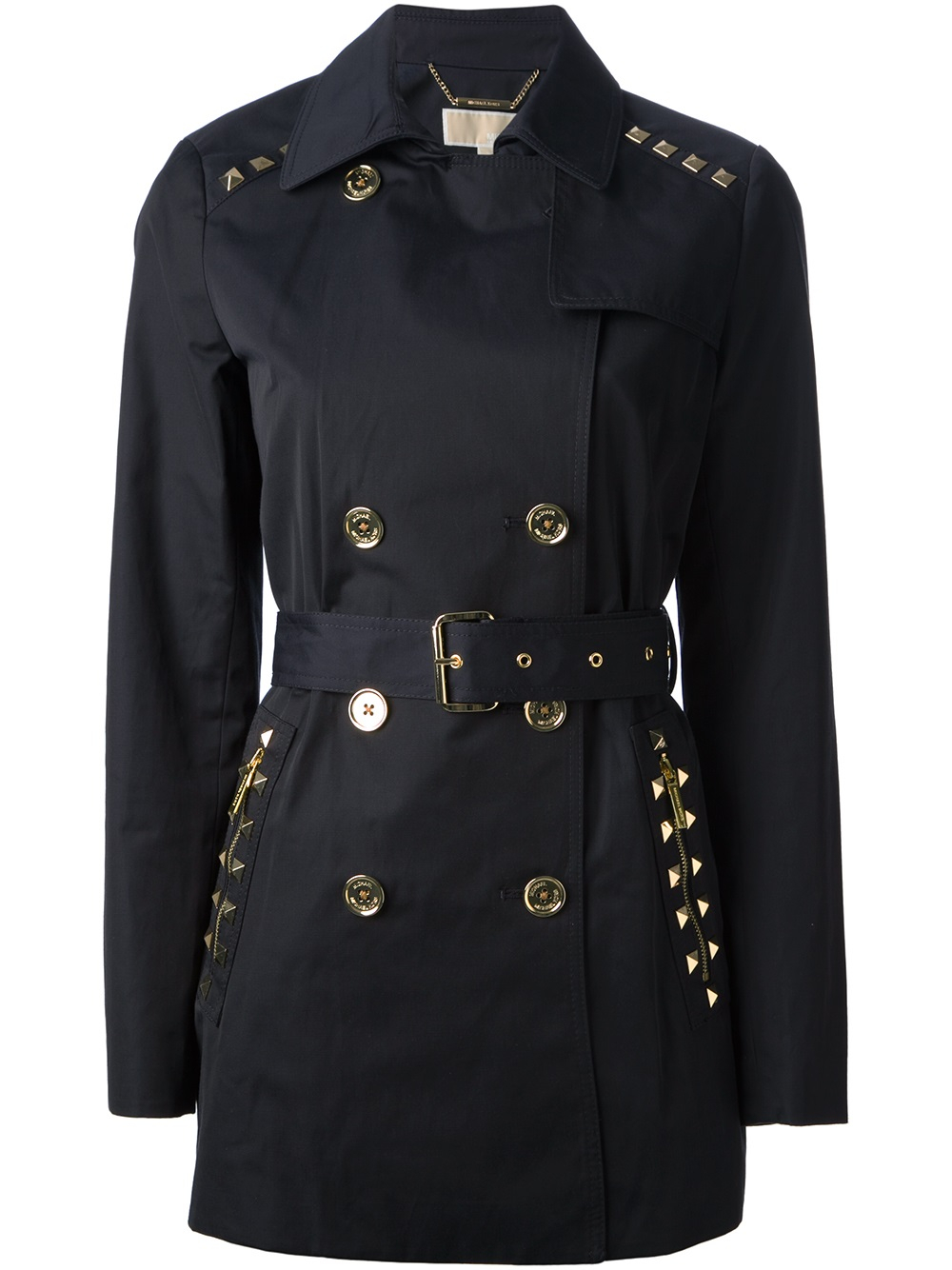 Michael Michael Kors Studded Trench Coat In Blue Lyst