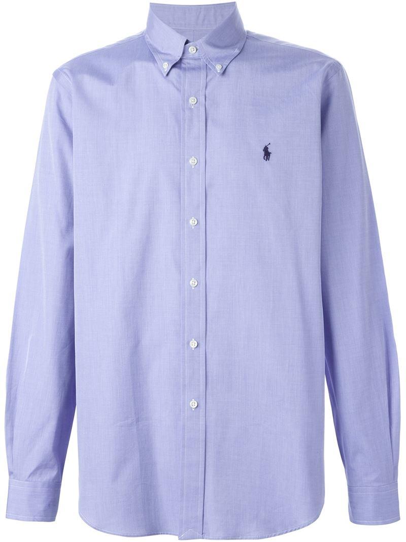 Polo Ralph Lauren Button Down Collar Shirt In Blue For Men