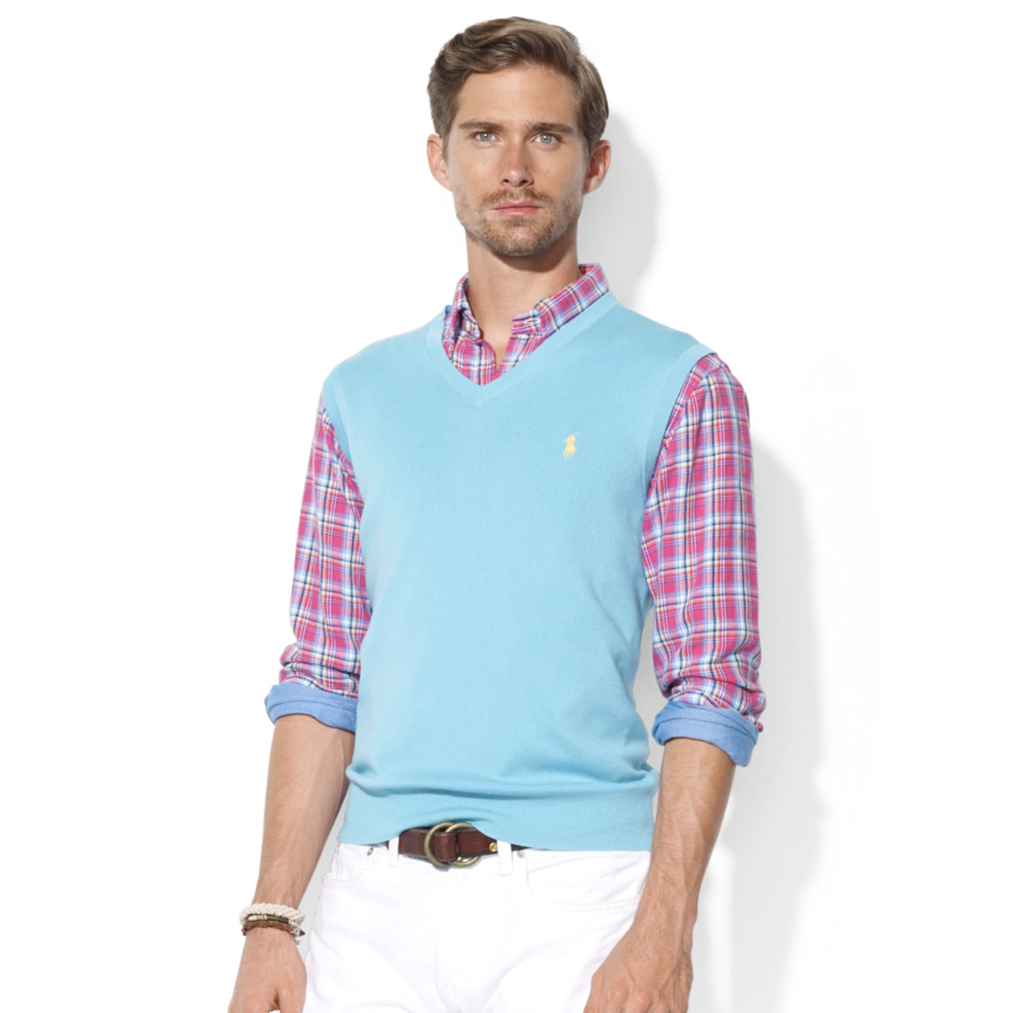 Ralph lauren Polo V Neck Pima Cotton Sweater Vest in Blue for Men ...