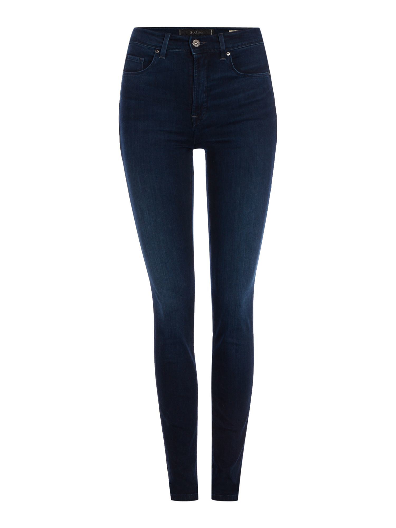 A pair of high-waist jeans, cut from a QUICK VIEW High-Rise Skinny Jeans A pair of skinny jeans in an indigo QUICK VIEW High-Waist Skinny Jeans A pair of stretch-denim jeans featuring a skinny QUICK VIEW High-Rise Ripped Knee Skinny Jeans.