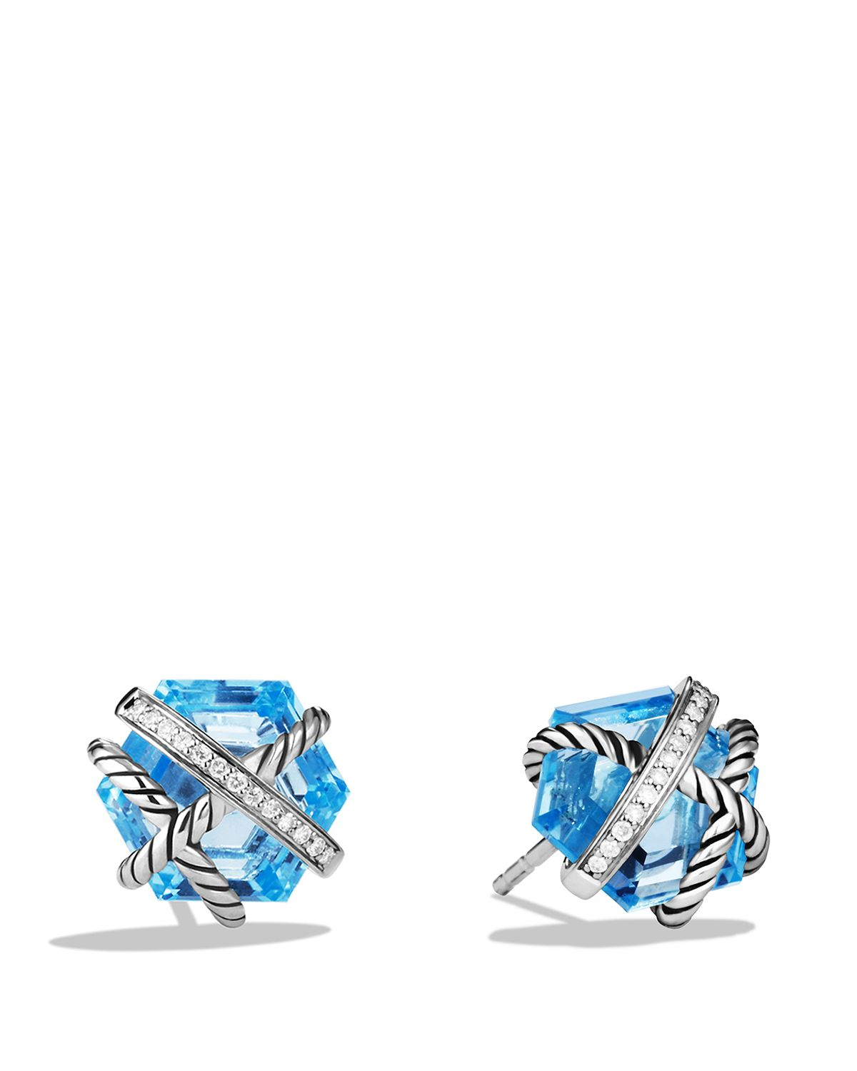 david yurman cable wrap earrings with blue topaz and
